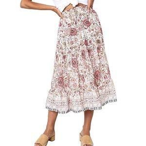Dresses & Skirts - NWOT- Bohemian Floral Elastic Waist Midi Skirt